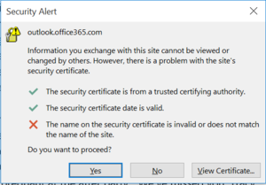 office 365 review security error