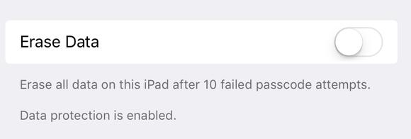 passcode erase option