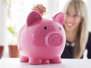 piggy bank saving women coin