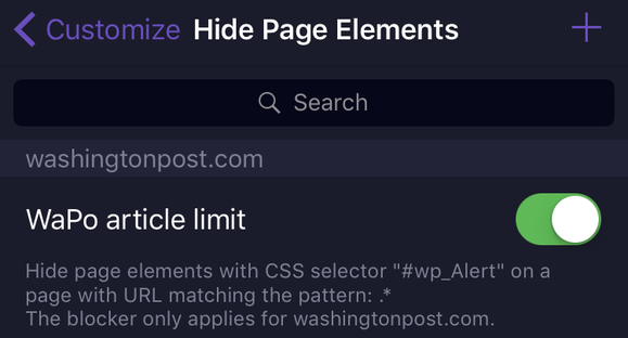 popover blocking filter enable