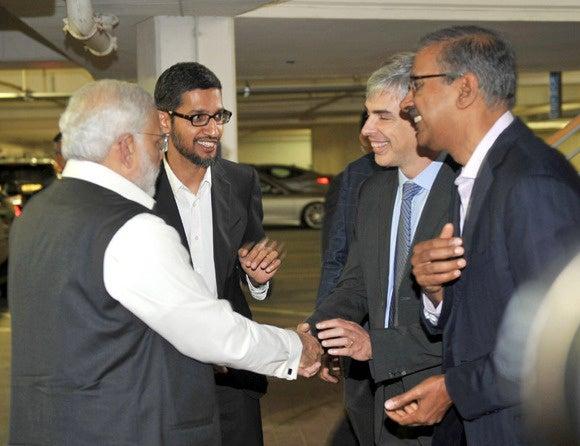 Modi, Pichai and Page at Google