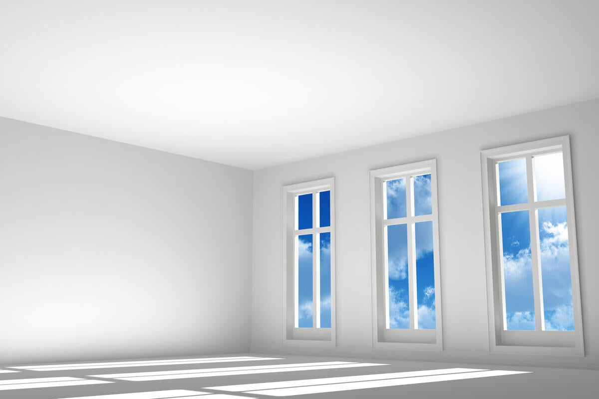 empty white room with windows and cloud technology