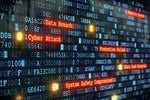 Cyber security breach attack on monitor with binary code