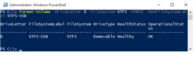 Windows 10 format USB drive NTFS powershell