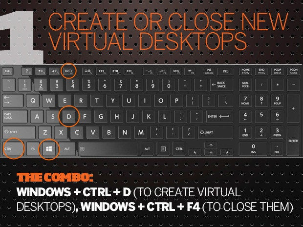 10 Windows 10 keyboard shortcuts - 1 - virtual desktops