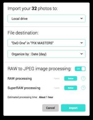 20 screenshot dxo connect import dialog