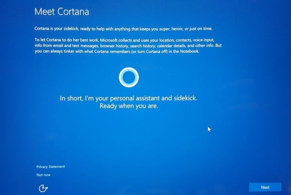 Surface Pro 4 setup Cortana