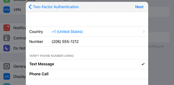 2fa enter phone number