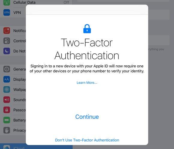 2fa invitation screen ios