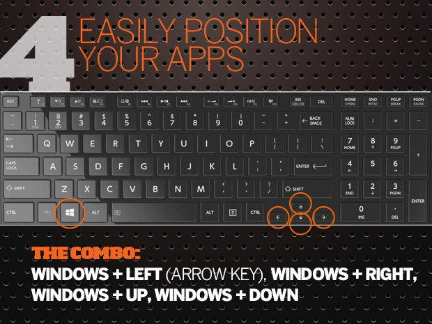 10 Windows 10 keyboard shortcuts - 4 - easily position apps