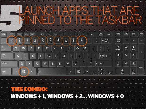 10 Windows 10 keyboard shortcuts - 5 - launch apps pinned taskbar