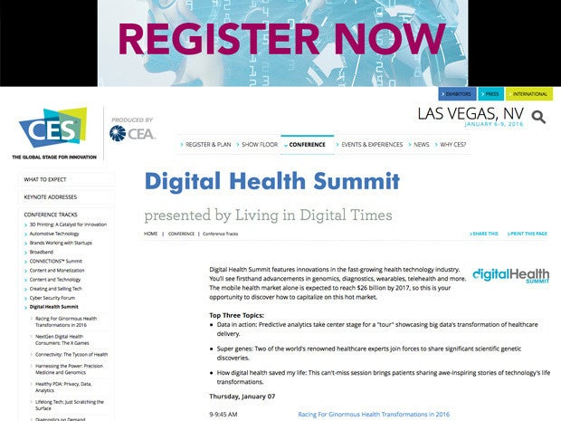 CES Digital Health Summit website
