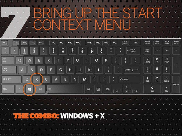 10 Windows 10 keyboard shortcuts - 7 - bring start context menu