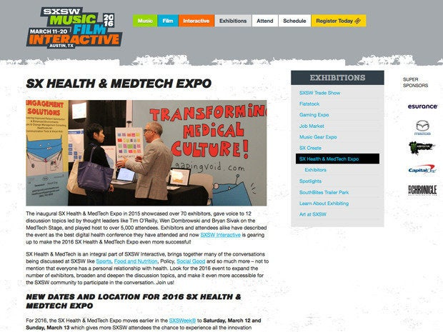 SXSW Health & Medtech Expo website