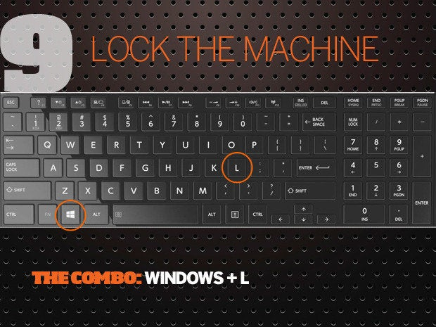 10 Windows 10 keyboard shortcuts - 9 - lock the machine
