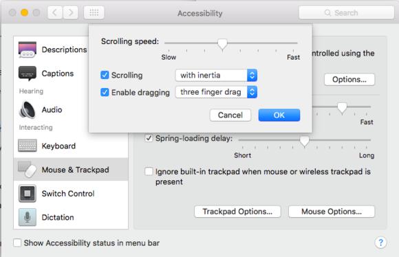 accessibility three finger drag