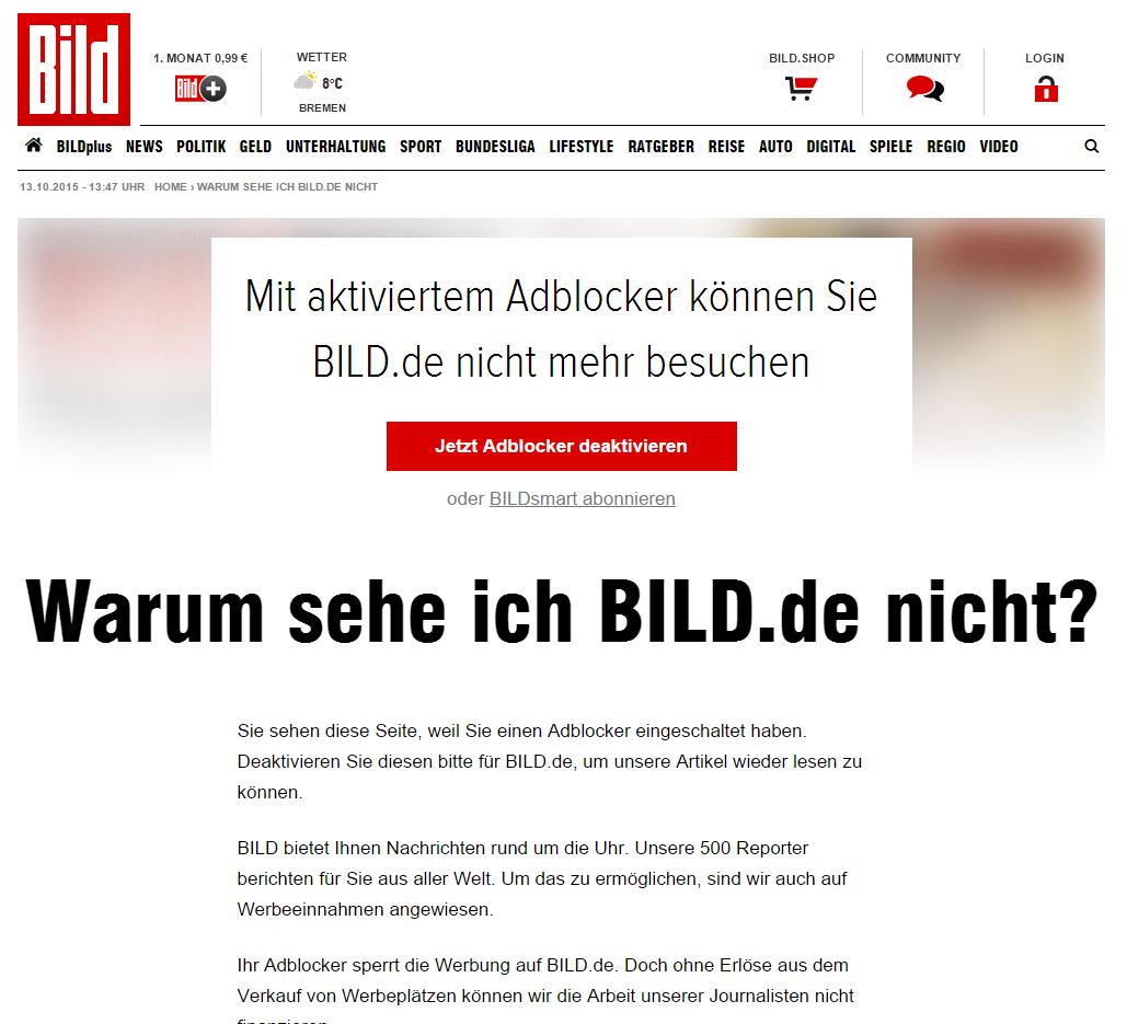 sorry ad blockers german news site bild says nein pcworld