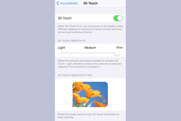 adjust the pressure of 3d touch