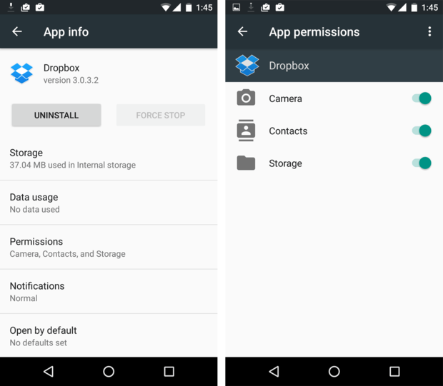 Android Marshmallow app privacy settings