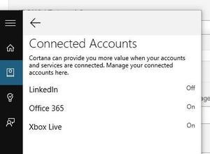 cortana connected accounts