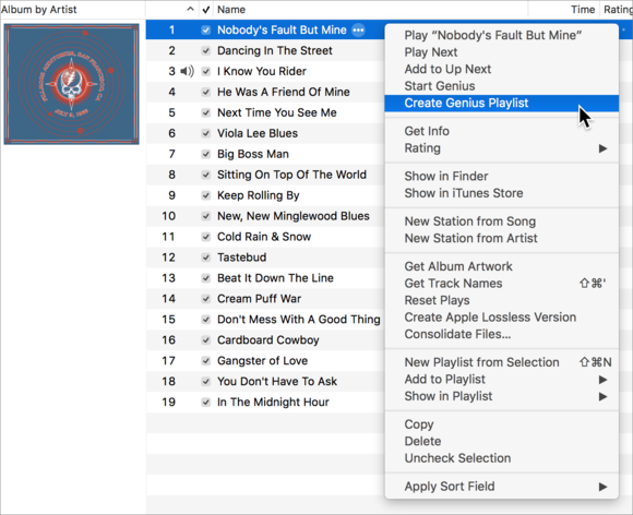 create genius playlist
