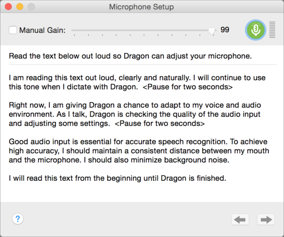 dragon microphone setup