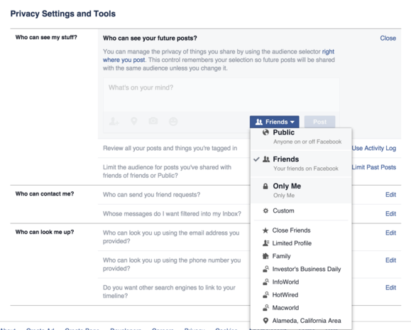 facebook global privacy settings