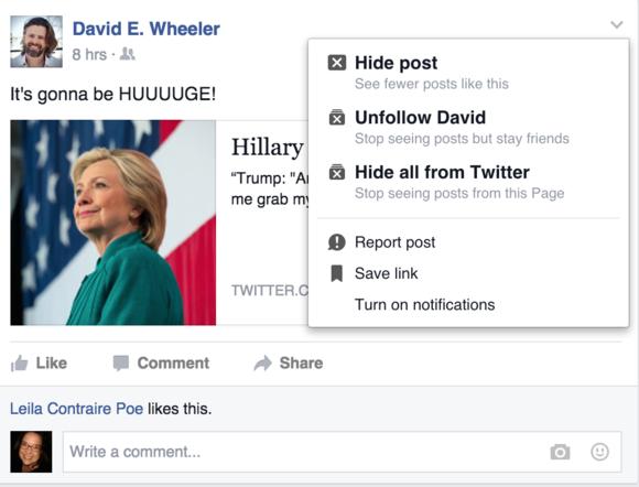 facebook unfollow someone
