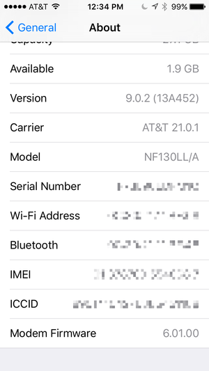 find serial number ios