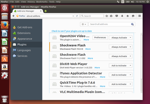 flash 19 in firefox on linux