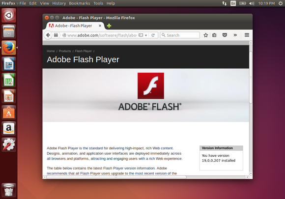 flash 19 in firefox on linux web page