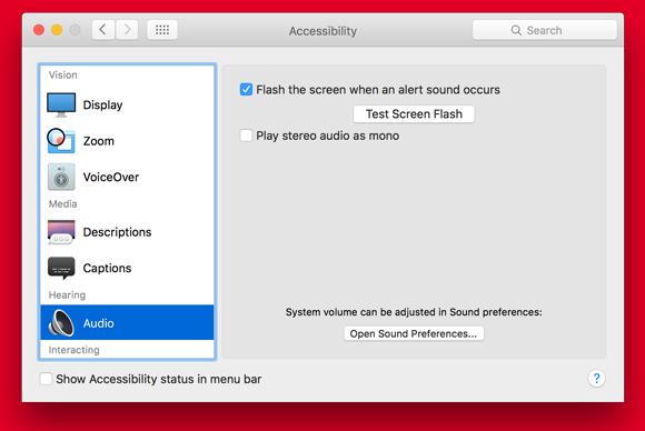 flash the screen for an error