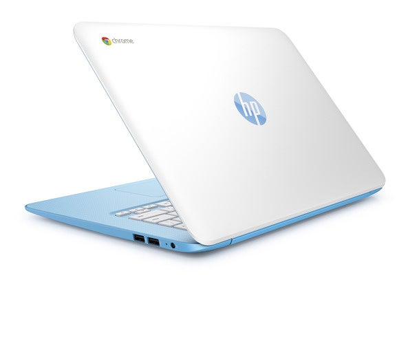 hp chromebook 14 sky blue rear left facing
