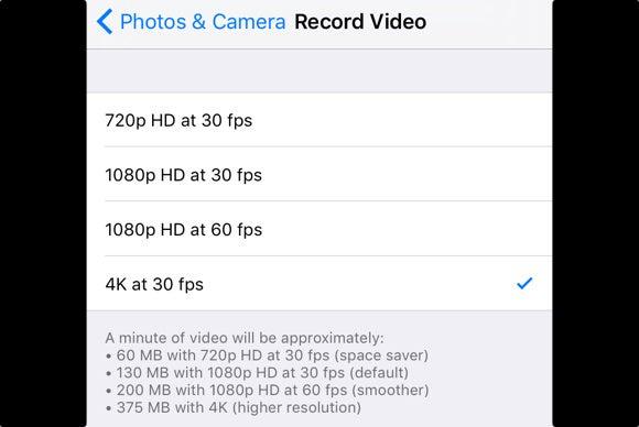 iphone 6s 4k video