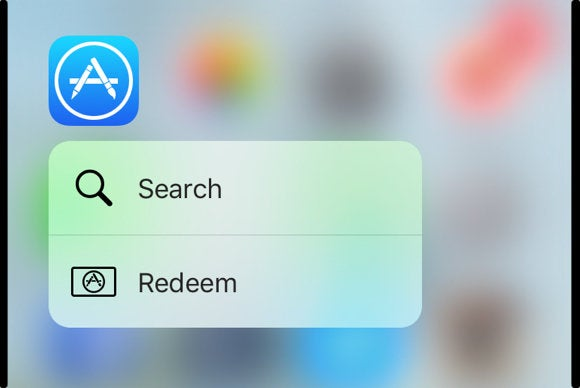 iphone 6s app store quick actions redeem