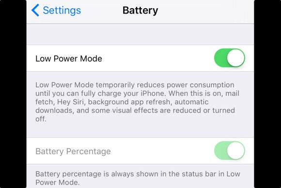 iphone 6s low power mode