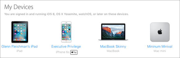 mac911 list of devices icloud