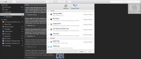 netnewswire mac popular sites