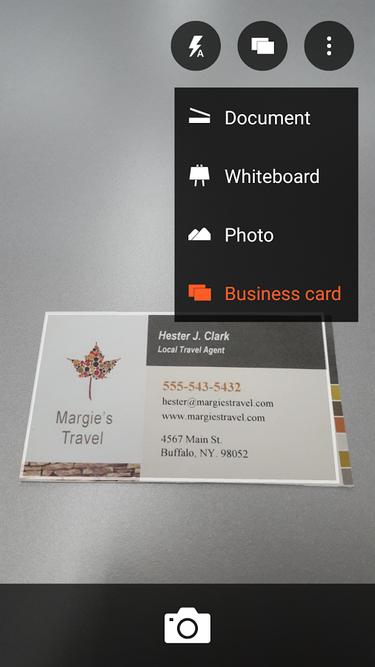 office lens business card