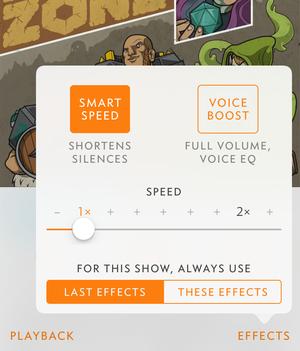 overcast2 per episode audio settings