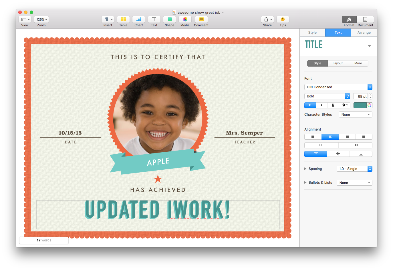 Apple updates iwork for mac with force touch and split view the kids certificate template in pages because not everyone gets a trophy yadclub Gallery