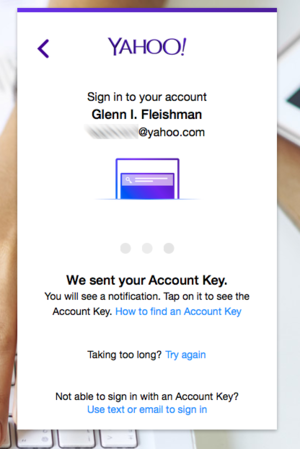 private i yahoo key web login