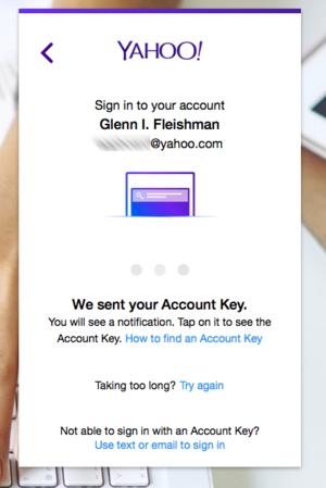private i yahoo key web login