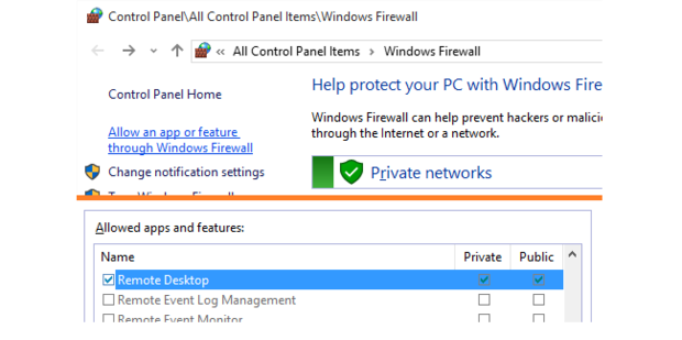 Windows firewall allow an app or feature