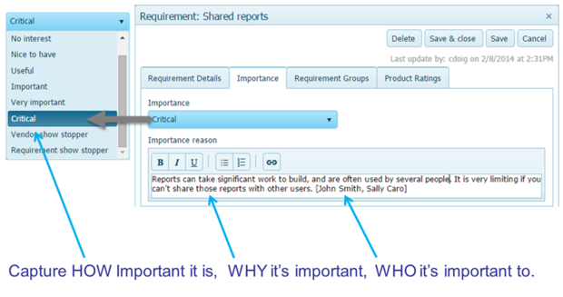 Capturing user requirements importance