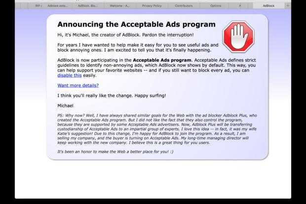AdBlock browser extension popup