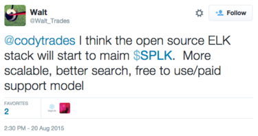 tweet about splunk and elk stack