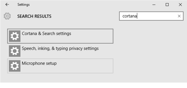 Open Settings app, type Cortana