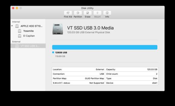 select device disk utility el capitan