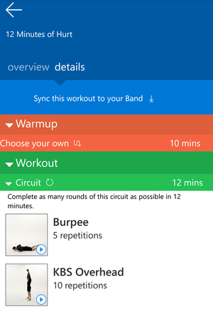 Microsoft Band 2 guided workouts